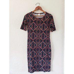 LuLaRoe Black Pattern Julia Fitted Dress